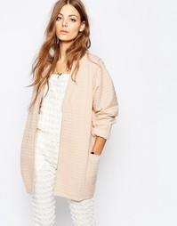 Бледно-розовая двусторонняя стеганая куртка-кимоно Maison Scotch