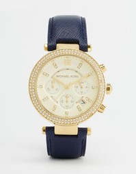 Часы с синим кожаным ремешком Michael Kors Parker MK2280 - Темно-синий