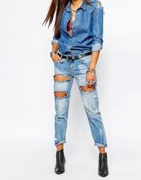 Тертые синие джинсы One Teaspoon Awesome Baggies - Синий