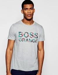 Серая футболка классического кроя с логотипом BOSS Orange - Серый