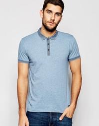 Синяя футболка-поло с жаккардовым воротником Boss Orange - Синий