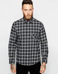 Фланелевая рубашка в клетку классического кроя Paul Smith Jeans