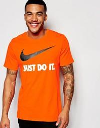 Оранжевая футболка с логотипом в виде галочки Nike JDI 707360-815