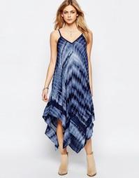 Платье макси с принтом тай-дай и асимметричным подолом Hazel