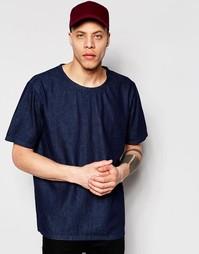 Темно-синяя джинсовая футболка прямого кроя Weekday Zephyr - Синий