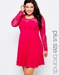Короткое приталенное платье с кружевными рукавами Praslin Plus