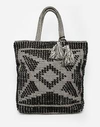 Черно-белая плетеная сумка на плечо Abercrombie & Fitch - Темно-синий