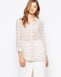 Шифоновая рубашка с принтом Pieces Sara - Выгоревший коралловый