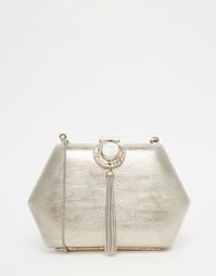 Шестигранный клатч с камнем и кисточкой From St Xavier - Серебряный