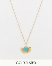 Ожерелье с подвеской-солнцем и бирюзой Ottoman Hands - Золотой