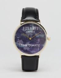 Часы с кожаным ремешком и принтом пейзажа Reclaimed Vintage - Черный