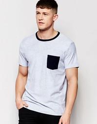 Облегающая футболка слим с принтом Abercrombie & Fitch - Темно-синий