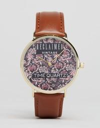Часы с принтом пейсли и кожаным коричневым ремешком Reclaimed Vintage