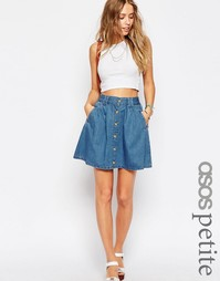 Короткая расклешенная юбка из синего денима на пуговицах ASOS PETITE