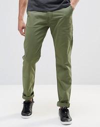 Зеленые суженные брюки-карго из эластичной саржи Lee - Зеленая бронза