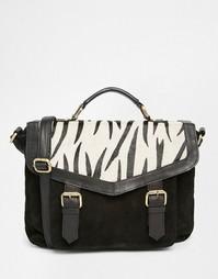 Замшевая сумка сэтчел с отделкой под зебру ASOS - Черный