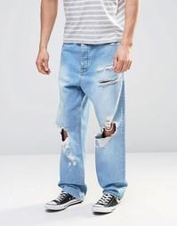 Рваные oversize-джинсы ASOS - Выбеленный синий