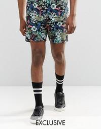 Фестивальные шорты с тропическим принтом Reclaimed Vintage - Черный