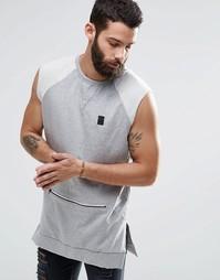 Свитшот без рукавов с карманом на молнии Religion Trail - Серый меланж