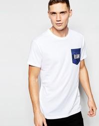 Белая футболка с надписью на камуфляжном кармане G-Star - Белый