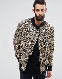 Трикотажная куртка-пилот с леопардовым принтом Religion