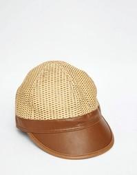 Соломенная кепка с козырьком из искусственной кожи ASOS - Естественный