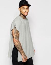 Серая меланжевая oversize‑футболка с накидкой ASOS - Серый меланж