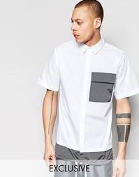 Рубашка с короткими рукавами, контрастным карманом и кромкой на завязк Black Eye Rags