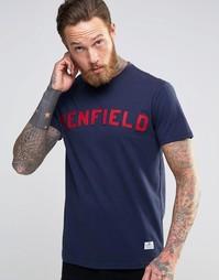 Темно-синяя футболка с логотипом в студенческом стиле Penfield