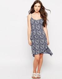 Платье асимметричной длины с принтом Brave Soul - Королевский синий