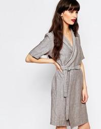 Платье-рубашка с запахом Just Female Genova - Антрацитовый меланж
