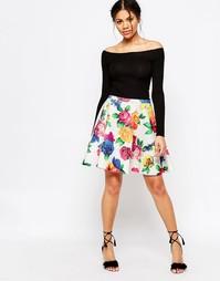 Короткая расклешенная юбка Traffic Pleople Blaz Blooms - Белый
