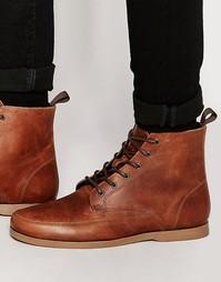 Светло-коричневые кожаные ботинки ASOS
