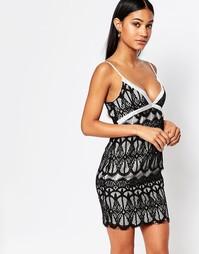 Облегающее платье с атласной отделкой Boohoo Boutique - Черный