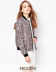 Розовая куртка-пилот с леопардовым принтом Helene Berman