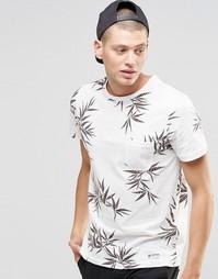Белая футболка с лиственным принтом и карманом Element