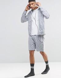 Домашние меланжевые шорты классического кроя Hugo Boss - Серый