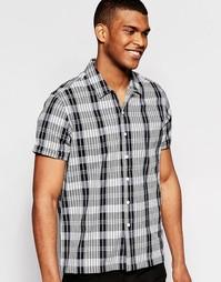 Черная клетчатая рубашка с короткими рукавами и воротником с отворотом Asos
