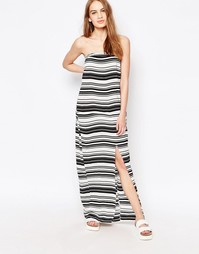 Платье-бандо макси в полоску Suboo - Черно-белый