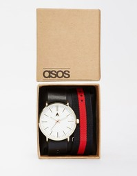 Часы со сменным парусиновым ремешком ASOS - Черный