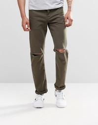 Узкие джинсы стретч цвета хаки с рваными коленками ASOS - Forest night