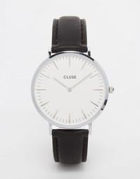 Серебристые часы с кожаным ремешком Cluse La Boheme CL18208