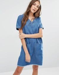 Платье-туника с необработанным краем и большими карманами Hilfiger Den