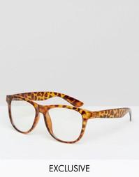 Очки в черепаховой оправе с прозрачными стеклами Reclaimed Vintage