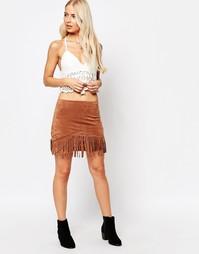 Замшевая юбка с бахромой TFNC - Коричневый