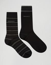 2 пары черных носков с полосками Hugo Boss - Черный