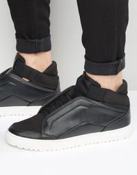 Черные кроссовки средней высоты с потайными шнурками ASOS - Черный