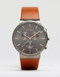 Часы 40 мм с кожаным ремешком Skagen Ancher - Коричневый