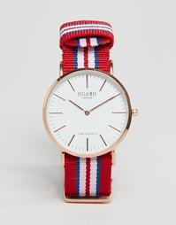 Часы с красным парусиновым ремешком в полоску Reclaimed Vintage