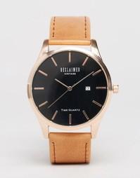 Часы с кожаным ремешком Reclaimed Vintage - Коричневый